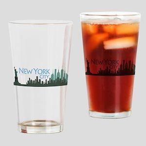NYC Liberty Skyline textured dark Drinking Glass