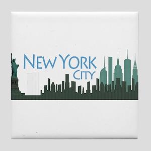 NYC Liberty Skyline textured dark Tile Coaster
