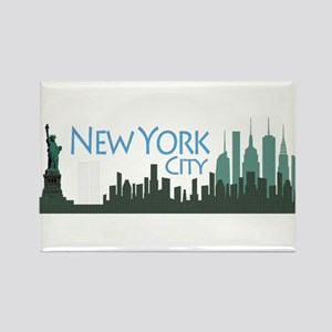 NYC Liberty Skyline textured dark Rectangle Magnet
