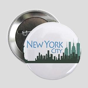 """NYC Liberty Skyline textured dark 2.25"""" Button"""