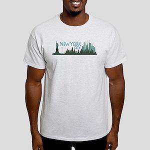 NYC Liberty Skyline textured dark Light T-Shirt