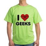 I Heart Geeks Green T-Shirt