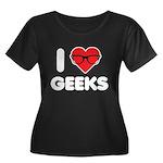 I Heart Geeks Women's Plus Size Scoop Neck Dark T-