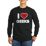 I Heart Geeks Long Sleeve Dark T-Shirt