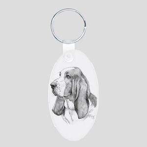 Basset Hound Aluminum Oval Keychain