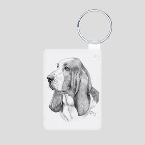 Basset Hound Aluminum Photo Keychain