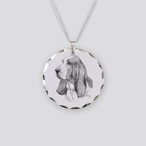 Basset Hound Necklace Circle Charm