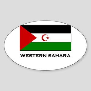 Western Sahara Flag Merchandise Oval Sticker