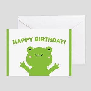 Frog birthday greeting cards cafepress happy birthday green frog greeting card m4hsunfo