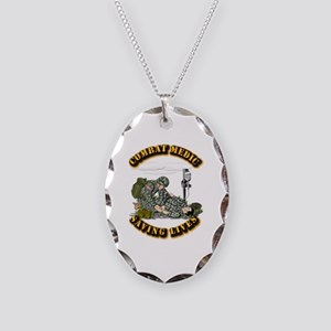 Combat Medic - Saving Lives Necklace Oval Charm