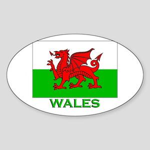 Wales Flag Stuff Oval Sticker