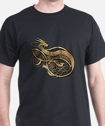 Gold Norse Dragon T-Shirt