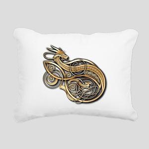 Gold Norse Dragon Rectangular Canvas Pillow