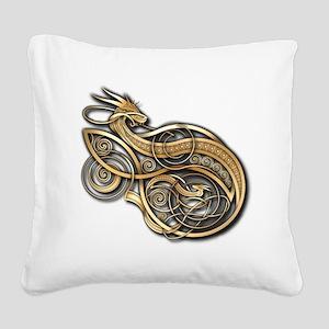Gold Norse Dragon Square Canvas Pillow