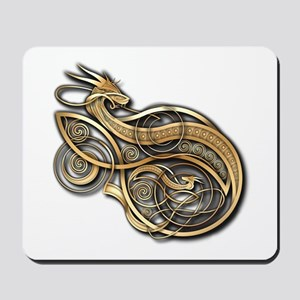 Gold Norse Dragon Mousepad