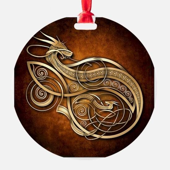 Gold Norse Dragon Ornament