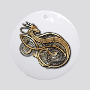 Gold Norse Dragon Ornament (Round)