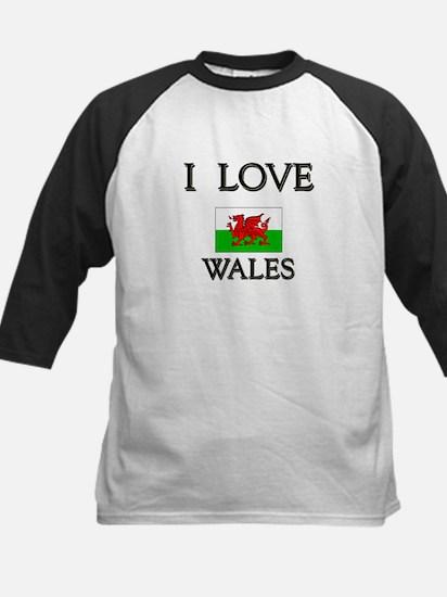 I Love Wales Kids Baseball Jersey
