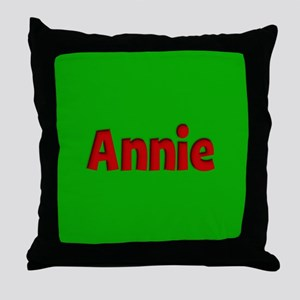 Annie Green and Red Throw Pillow