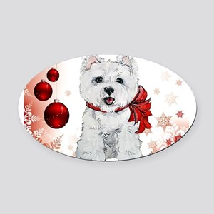 Westie Red Christmas Oval Car Magnet