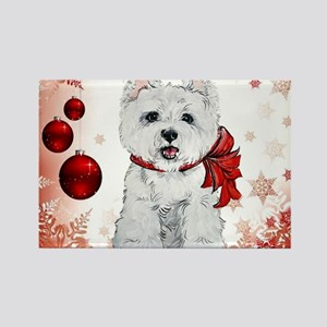 Westie Red Christmas Rectangle Magnet