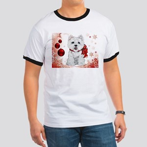 Westie Red Christmas Ringer T