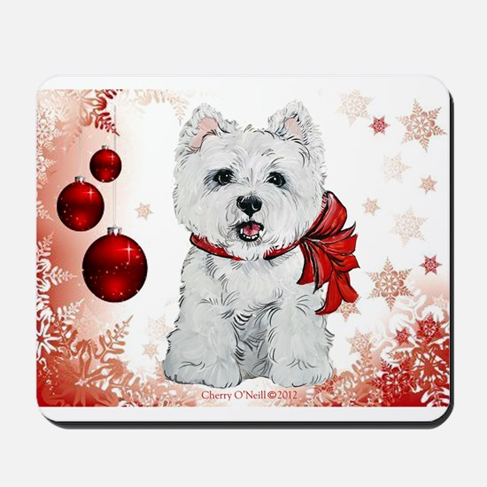 Westie Red Christmas Mousepad