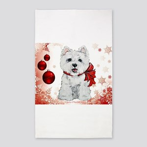Westie Red Christmas 3'x5' Area Rug