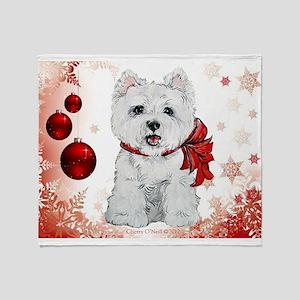 Westie Red Christmas Throw Blanket