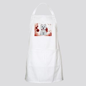 Westie Red Christmas Apron