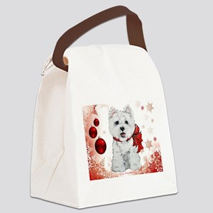 Westie Red Christmas Canvas Lunch Bag