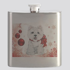 Westie Red Christmas Flask