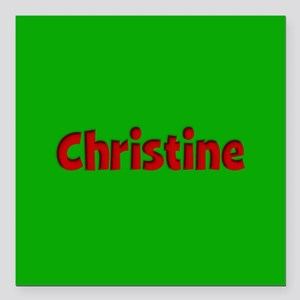 """Christine Green and Red Square Car Magnet 3"""" x 3"""""""