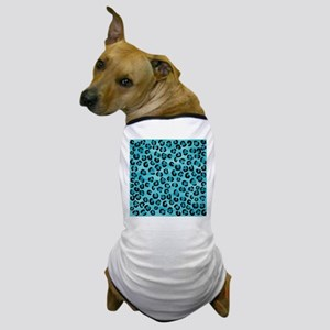Teal Leopard Print Pattern. Dog T-Shirt