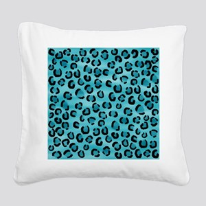 Teal Leopard Print Pattern. Square Canvas Pillow