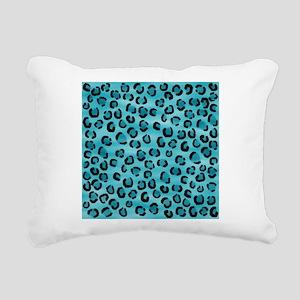 Teal Leopard Print Pattern. Rectangular Canvas Pil