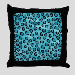Teal Leopard Print Pattern. Throw Pillow