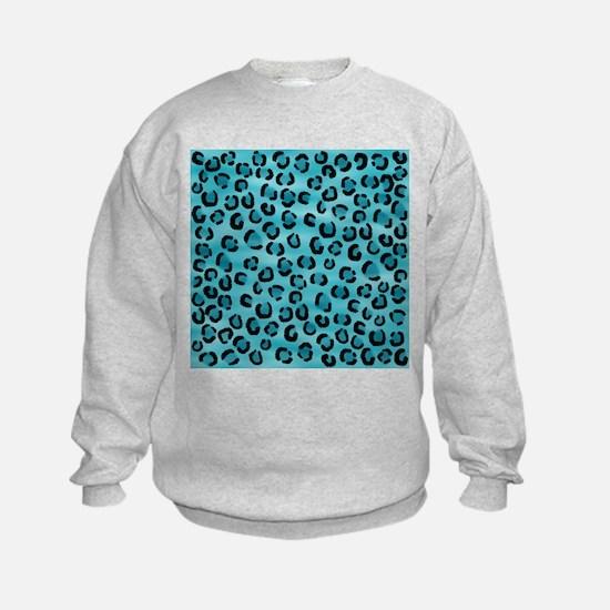 Teal Leopard Print Pattern. Sweatshirt