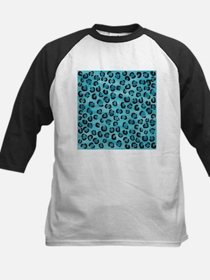 Teal Leopard Print Pattern. Kids Baseball Jersey