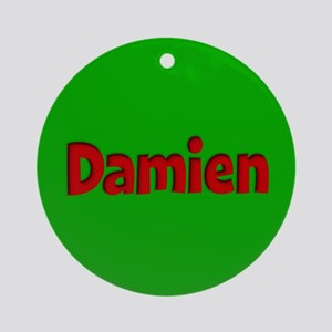 Damien Green and Red Ornament (Round)
