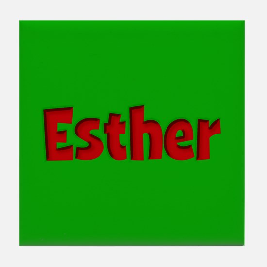 Esther Green and Red Tile Coaster