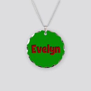 Evelyn Green and Red Necklace Circle Charm