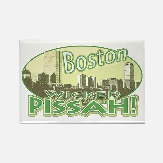 Green Boston Skyline Rectangle Magnet