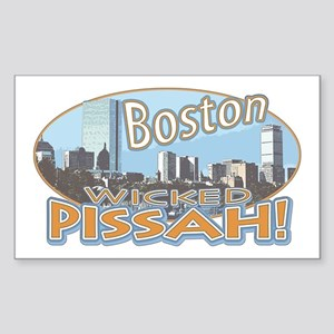 Boston Skyline Wicked Pissah Rectangle Sticker