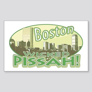 Green Boston Skyline Rectangle Sticker