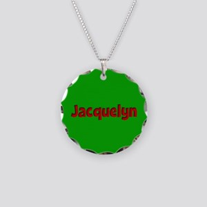 Jacquelyn Green and Red Necklace Circle Charm