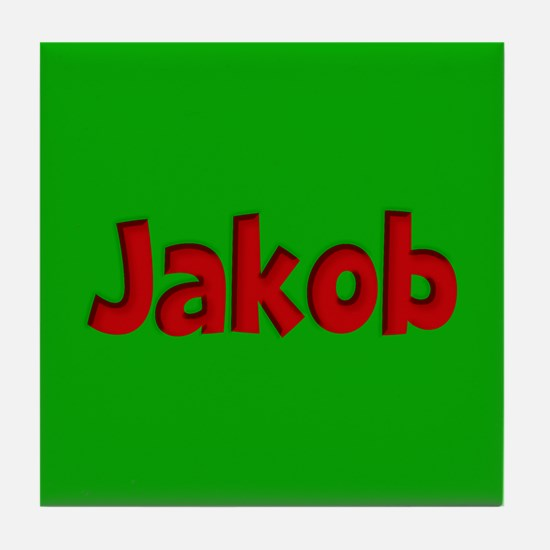 Jakob Green and Red Tile Coaster