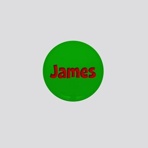 James Green and Red Mini Button