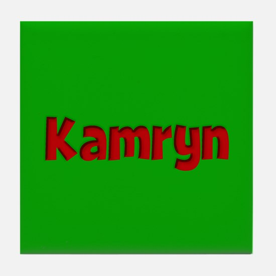 Kamryn Green and Red Tile Coaster