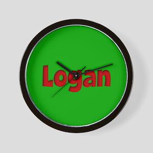 Logan Green and Red Wall Clock